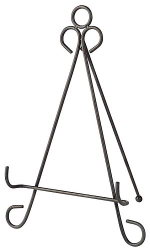 """Black Easel Stand (EG24261) $19, For displaying stained glass panels, artwork and other decor. Wrought iron powder coated in black. 8"""" x 9"""" x 13"""""""