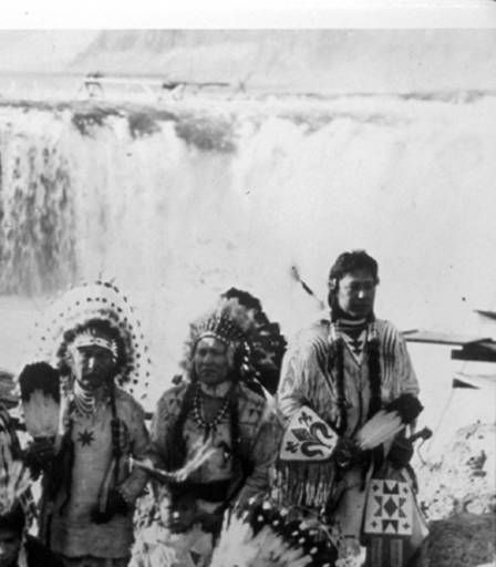 Celilo ( Yakama) group pose in ceremonial dress at Celilo Falls, Oregon :: American Indians of the Pacific Northwest -- Image Portion