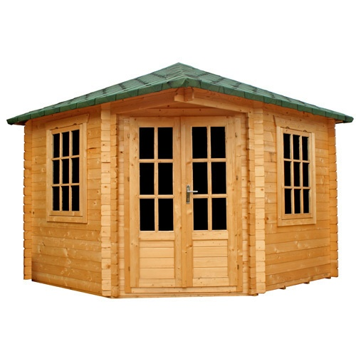 log cabin garden office corner summer house shed workshop - Corner Garden Sheds 7x7