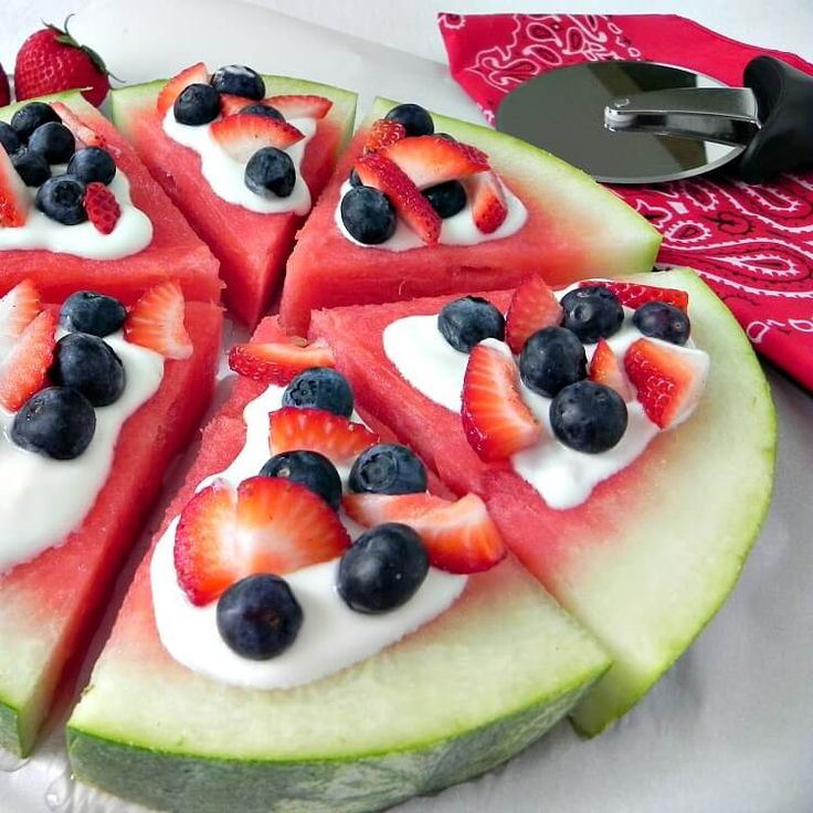 Watermelon pizza is the perfect summer snack or dessert. Top it with blueberries, strawberries or whatever your family loves.