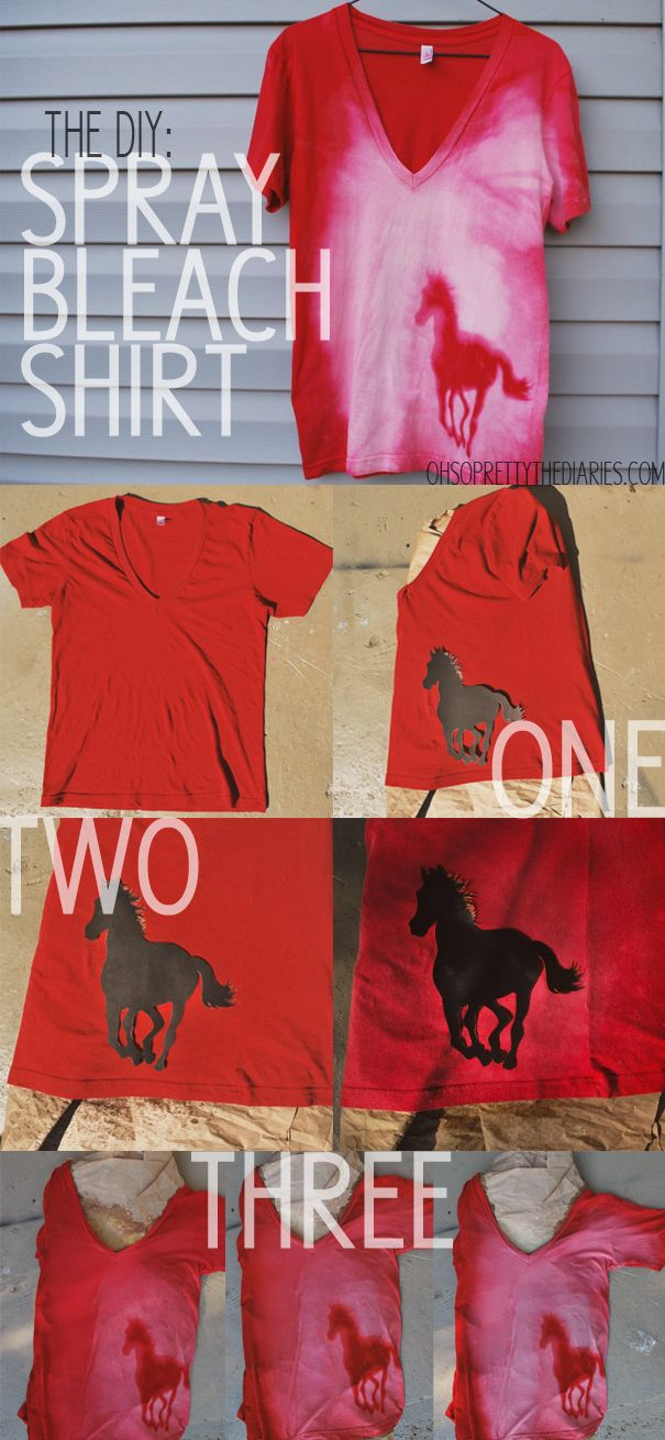 Spray Bleach Shirt DIY  All you need to do this project is a spray bottle, a barrier for the inside of the shirt, some bleach, a t-shirt and a stencil that you can make yourself out of card stock.