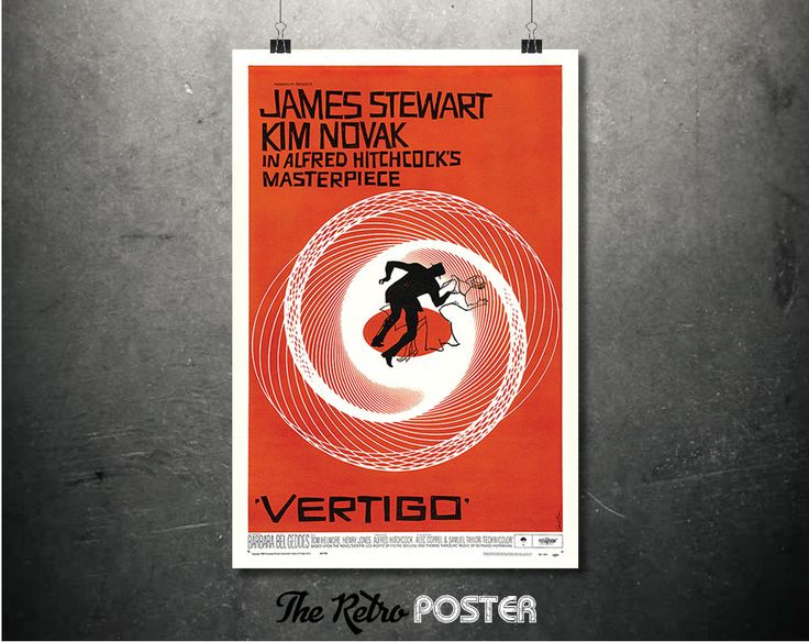 Alfred Hitchcock - Vertigo - Movie Poster - 1950s, Psychological Thriller, Cinema, Movie Poster, Film Poster, Film Prints, Film Art, Movies by TheRetroPoster on Etsy