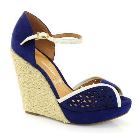 Sandália Anabela Feminina Vizzano 6215230 - CM AZUL 7843 - Vizzent Calçados - Compre online - Pague em 10X | Frete e Troca Grátis