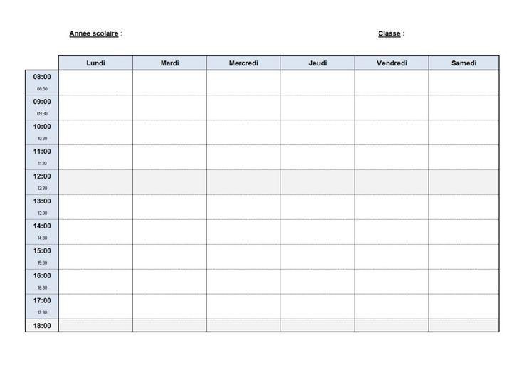 Emploi du temps scolaire à compléter   Pour la rentrée scolaire, plutôt que de perdre un temps précieux à dessiner un tableau qui ne sera pas en plus très esthétique, nous vous conseillons d'imprimer cet emploi du temps vide qui servira aussi bien pour l'école primaire, le collège ou le lycée, et ce, quelle que soit la filière dans laquelle vous êtes.Réaliser un tableau sur Microsoft Excel ou Word tel que celui-ci est à la portée de n'importe qui cependant pourquoi s'embêter à le faire…
