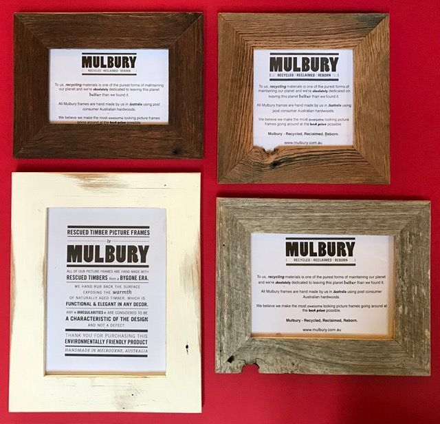 Here is a selection of Original Mulbury frames for your perusal. Top left the Regal and Dignified Chocolate Waxed, Top right our ever popular Oiled that has been delivered all over the world with no exceptions, Bottom left we have the White Wash that is very popular for the beach house and beachey photographs, Bottom right, we have the Grey, great for all your out door pictures and in fact the Grey can be used to upscale or down scale any picture. #MulburyMade #RecycledTimberFrames…
