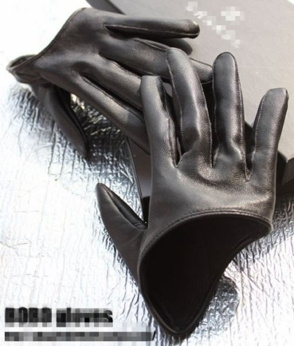 Motorcycle Half Palm Black Faux Leather Gloves