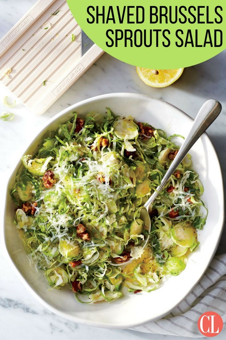 Thinly shaved brussels sprouts combine crunchy nuts and rich olive oil in this salad for a world of flavor and textures. | Cooking Light (Paleo Soup Leek)