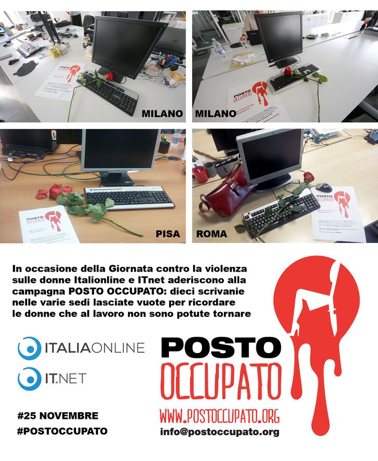 """Italiaonline al fianco delle donne con l'iniziativa """"POSTO OCCUPATO"""": una scrivania vuota con una rosa spezzata per ricordare le vittime di violenza #25novembre #postoccupato"""