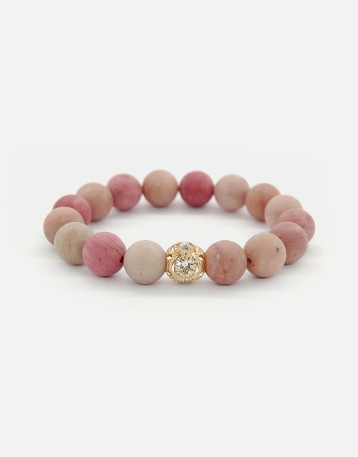 Bracelets / rhodochrosite / natural stone / fashion / jewlery / gold
