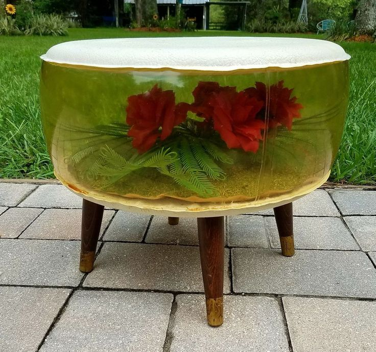 Ottoman Footstool inflatable terrarium Roses tapered legs Mid Century retro mod | Collectibles, Vintage, Retro, Mid-Century, 1960s | eBay!