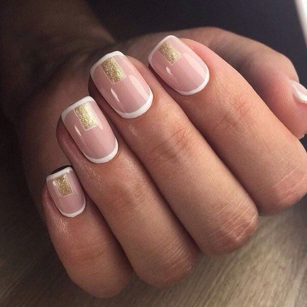 Beige and gold nails, Luxury nails, Metallic gold nail polish, Office nails, Simple nail art, Spring french manicure, Square nails, Stylish French nails