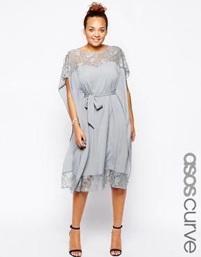 Enlarge ASOS CURVE Lace Insert Kimono Dress