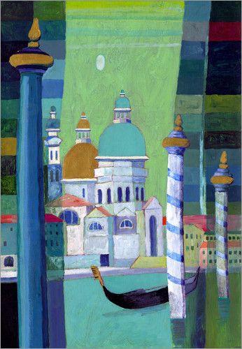 "Wandbild ""Venezianische Gondel I"" von Eugen Stross - #painting #Zeichnung #Venedig #venice"