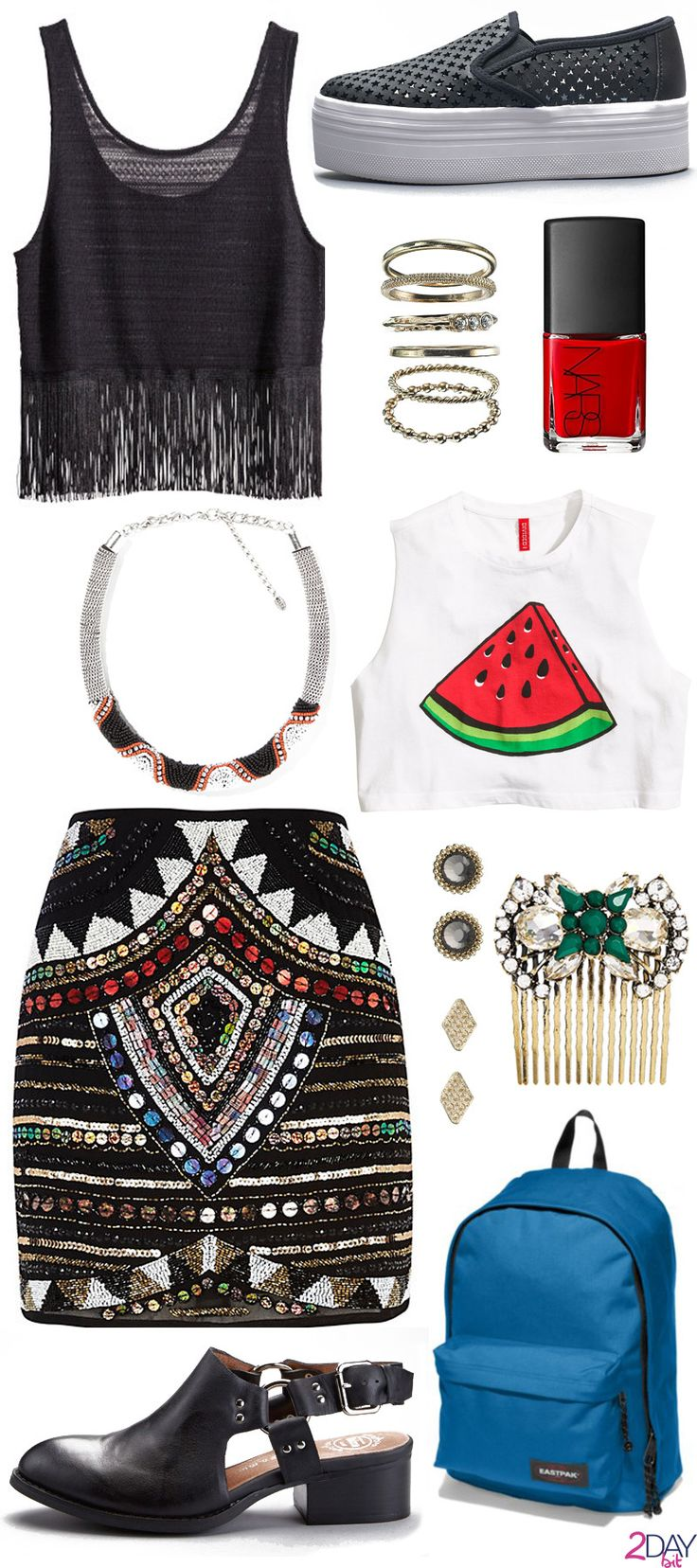 2DayBit   Credits: River Island – Black Embellished Mini Skirt H&M White Top or H&M Black Top Zara Necklace Accessorize Earrings Accesorize Rings Set Nars Cosmetics Nail Polish – Dovima Eastpak – Out Of Office Bluedale Jeffrey Campbell Flats Borel or Sneaker WTF Johnny Loves Rosie Saoirse Hair Slide