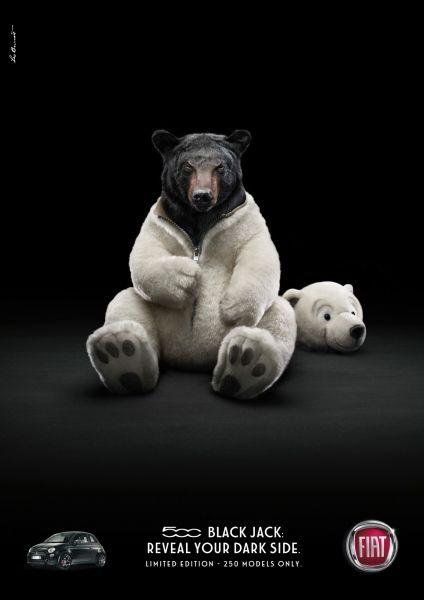 fiat: Black Panther, Polar Bears, Photos Manipulation, Black Bears, Teddy Bears, Dark Side, Fiat 500, Fiat500, Animal