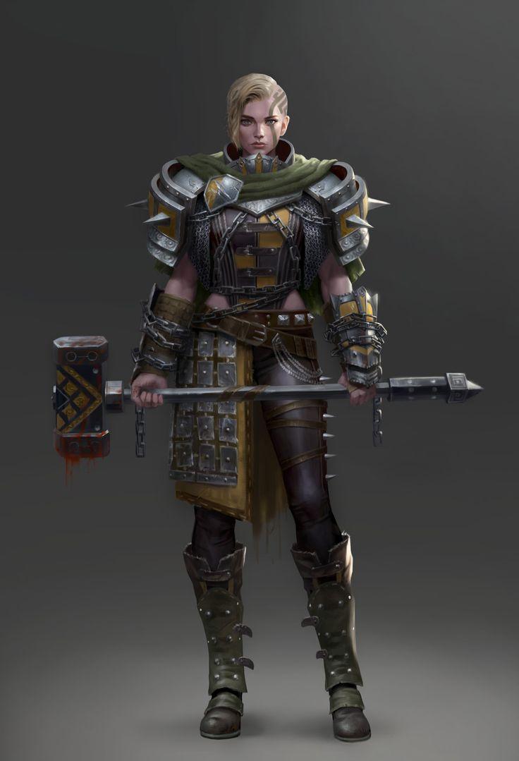 Hammer Warrior, Yoon Seseon on ArtStation at https://www.artstation.com/artwork/GZ1Ld