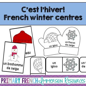 French winter centres - flashcards, bug in a rug, and domino games. Great for French Immersion and Primary Core French students learning winter vocabulary! These fun centres work well for small group instruction, as well as for Daily 5 / Les 5 au quotidien.