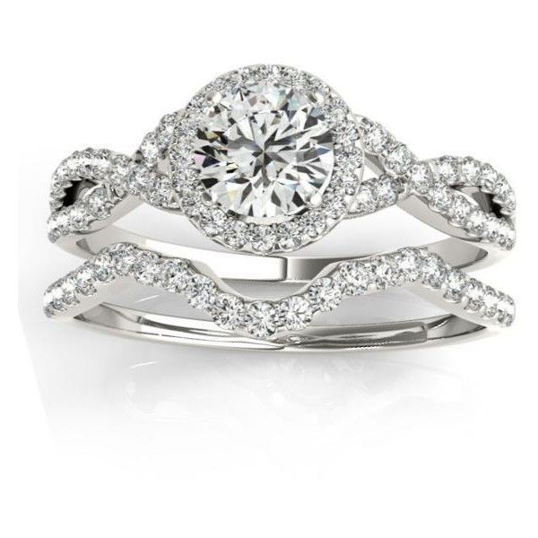 Allurez Twisted Infinity Engagement Ring Bridal Set Palladium 0.27ct ($1,705) ❤ liked on Polyvore featuring jewelry, rings, white, bridal rings, engagement rings, white diamond ring, bridal engagement rings and round cut engagement rings