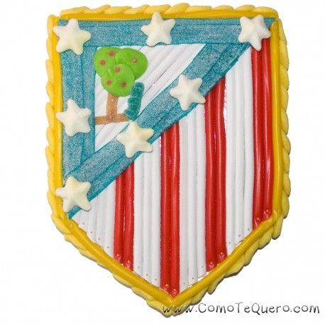 Tarta escudo Atletico de Madrid. Tarta de chuches de 1.000 gr. Con tarjeta personalizada.