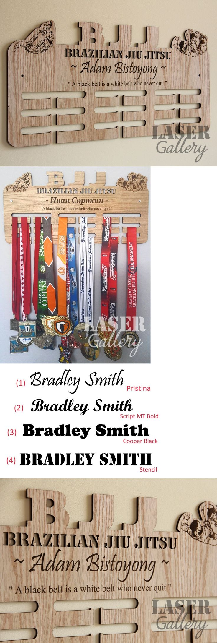 Belt Displays 179768: Xl Brazilian Jiu Jitsu 24X12 Wooden Medal Hanger Laser Cut Medal Display Rack -> BUY IT NOW ONLY: $70 on eBay!