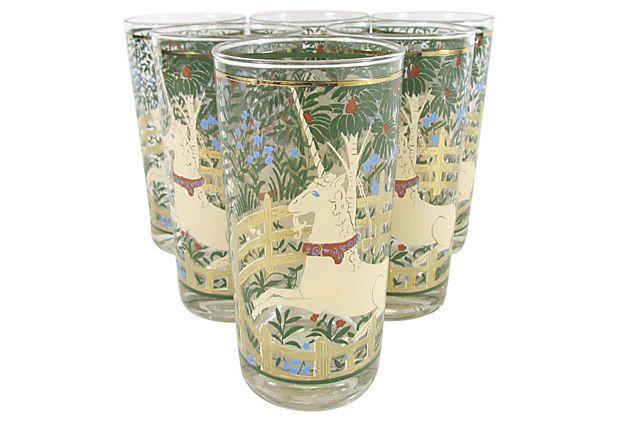 Unicorn Tapestry Glasses, Set of 6