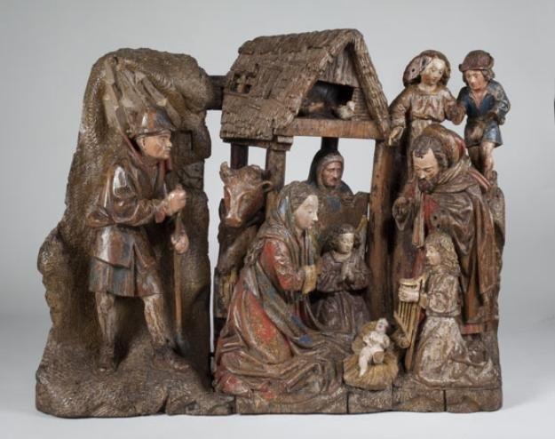 Noord-Nederlandse altaarfragment met de Aanbidding der herders uit ca 1490