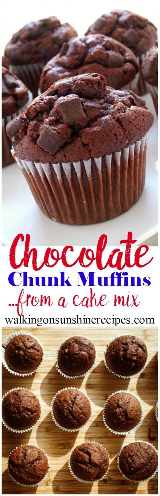 You can have chocolate for breakfast with these chocolate chunk muffins from Walking on Sunshine Recipes.