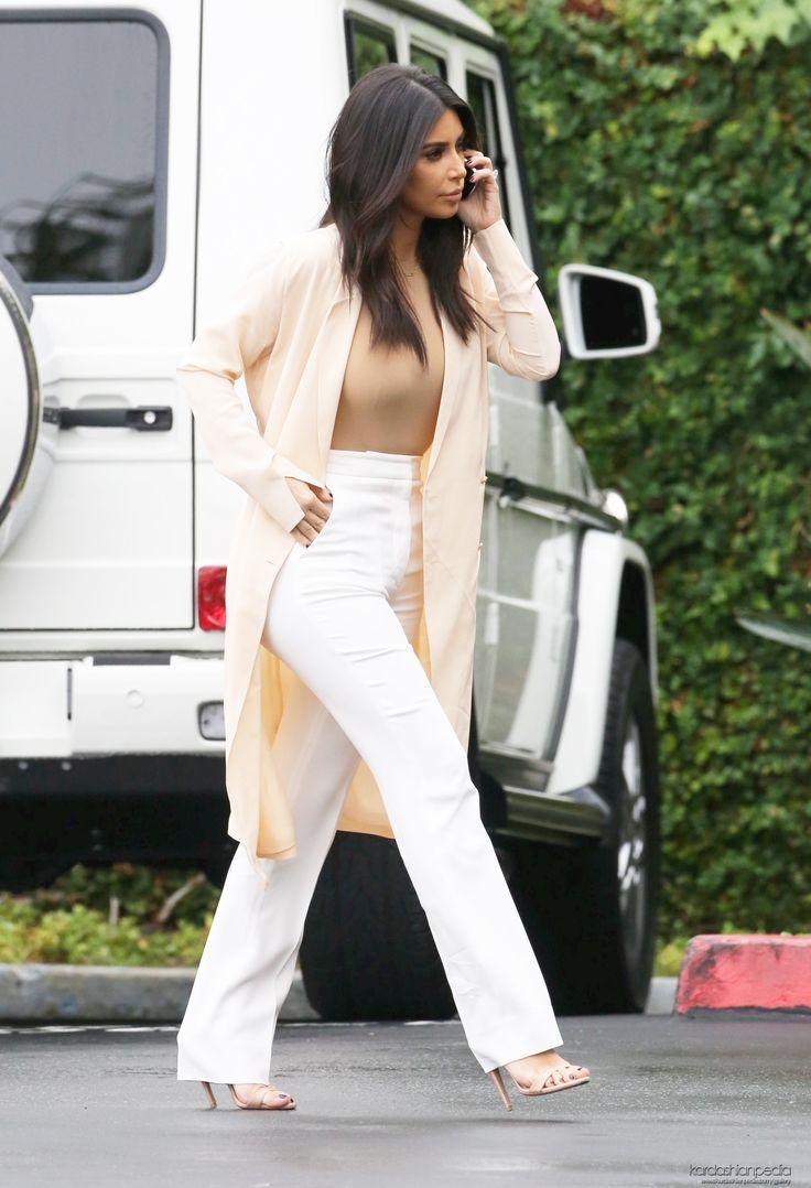 Kim Kardashian - Cream Coloured Cardigan, Beige Top & Loose-Fit Pants