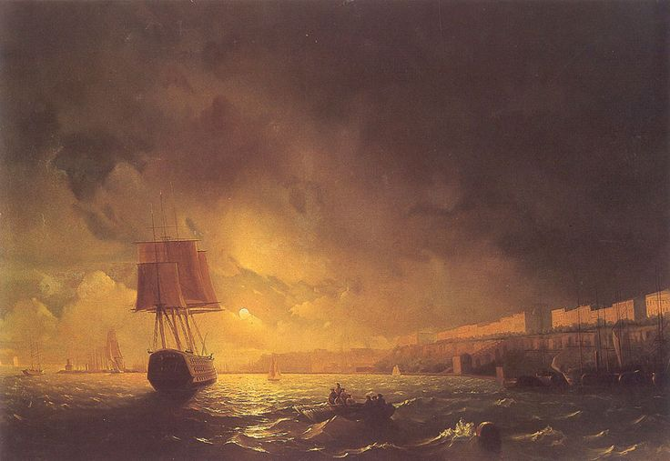Ivan Konstantinovich Aivazovsky. The Harbor At Odessa On The Black Sea, Original Size: 114,3 x 144,8 cm, Date: 1852. Buy this painting as premium quality canvas art print from Modarty Art Gallery. #art, #canvas, #design, #painting, #print, #poster, #decoration