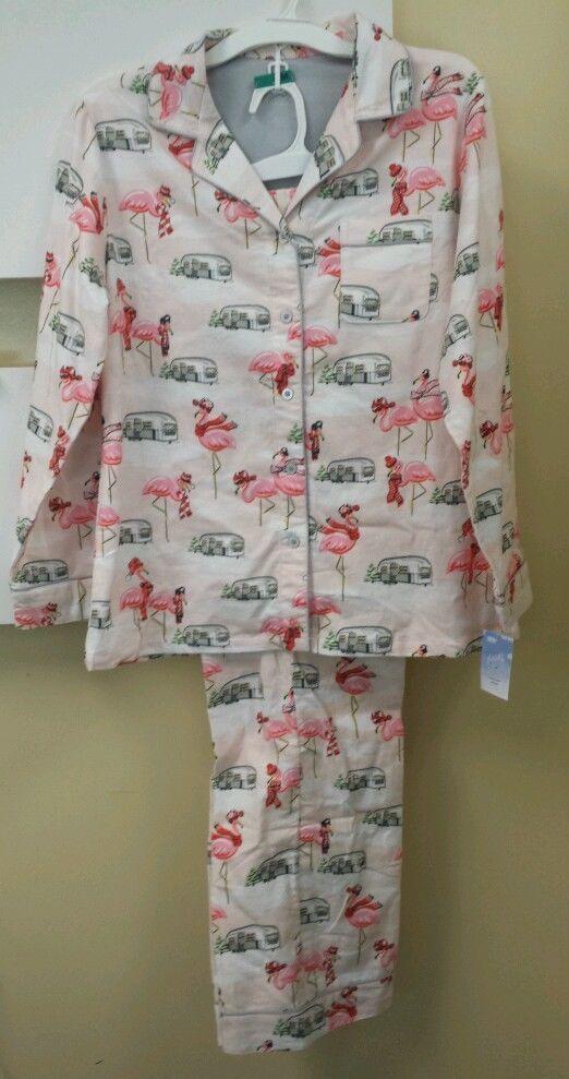 Nick & Nora Pajamas Flamingo Camper RV Airstream Flannel Size Med NWT #NickNora #PajamaSets