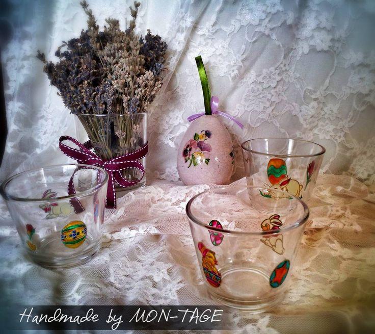 Húsvéti mintájú üveg mécsestartók, mérete: átmérője 7,5 cm, magassága 6 cm.