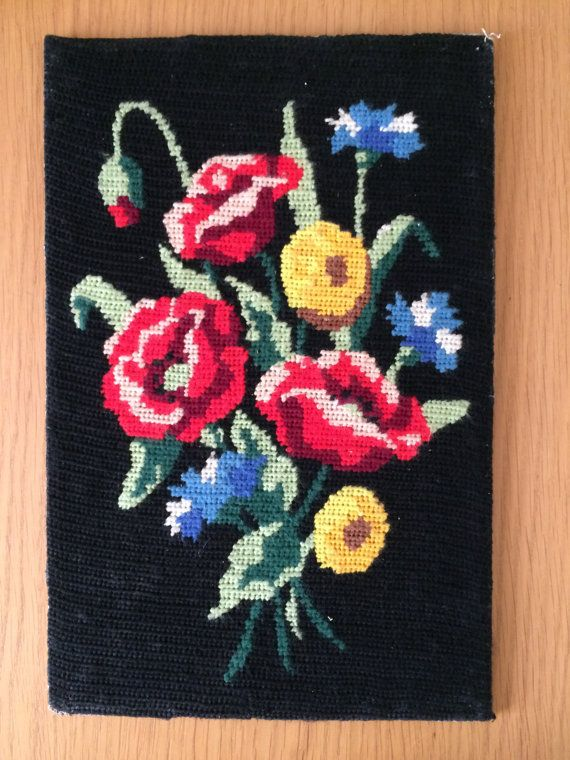 Vintage Floral  tapestry canvas. 1970 Flowers bunch