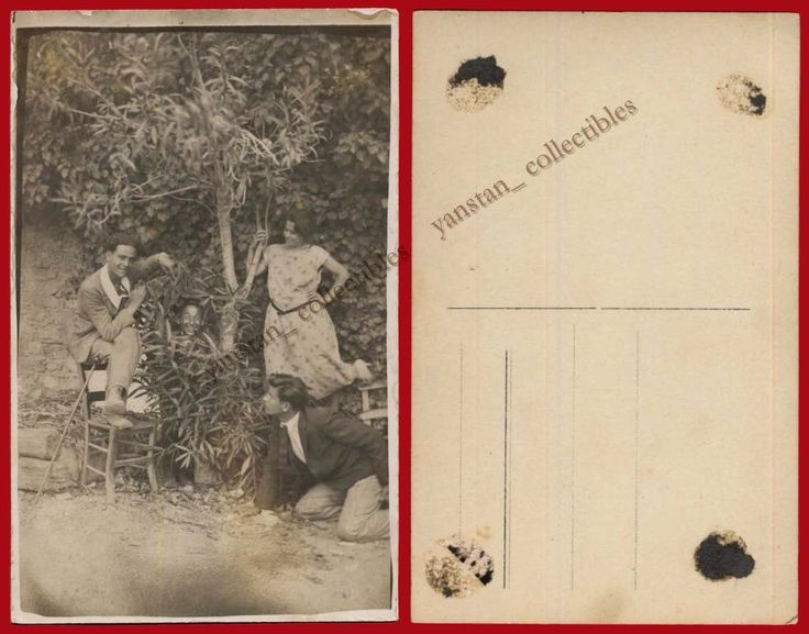 ## 23312 Greece 1920s. Young Men & woman. Photo PC size.