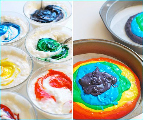 "Really fun ""Rainbow"" cake recipe. Just add food coloring to separated cake batter to create colorful layers! Awesome. Addibug LOVES this."