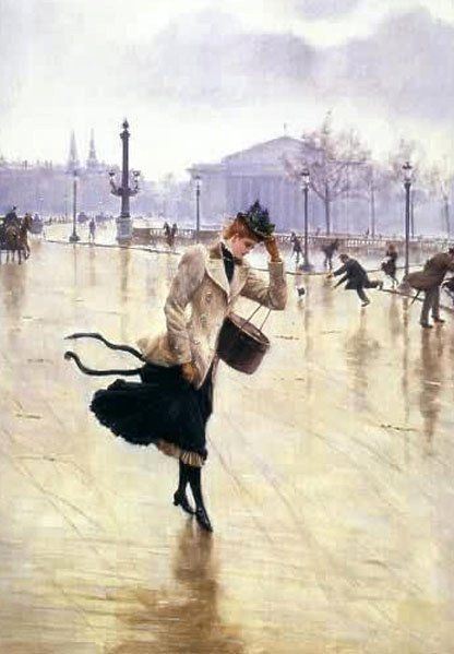 A Windy Day ~ Jean Georges Béraud ~ (French: 1849-1935)