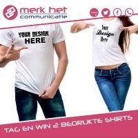 Maak jij een vriend of vriendin blij met een t-shirt met eigen ontwerp? Doe mee en win twee shirts!Wat moet je doen?1. Tag je vrienden om ook zo'n leuk shirt te
