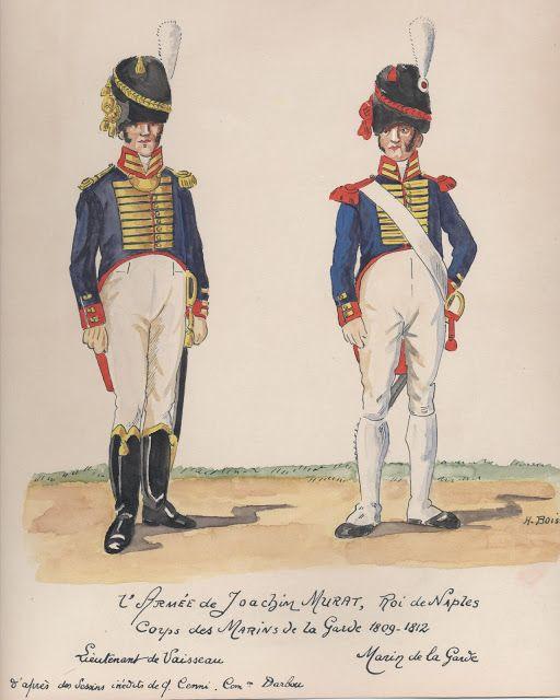 Tenente di vascello e marinaio della corpo dei marinai della guardia reale di Murat
