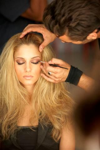 Making up Doukissa Nomikou Hair + make-up by Panos Kallitsis