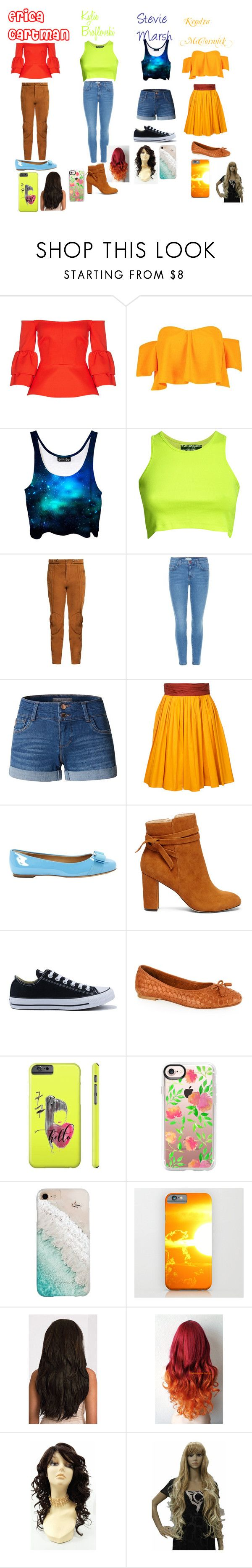 """South Park Genderbend"" by rocky-road-981 ❤ liked on Polyvore featuring Safiyaa, Boohoo, Pilot, Current/Elliott, LE3NO, Paule Ka, Salvatore Ferragamo, Sole Society, Converse and Carvela Kurt Geiger"