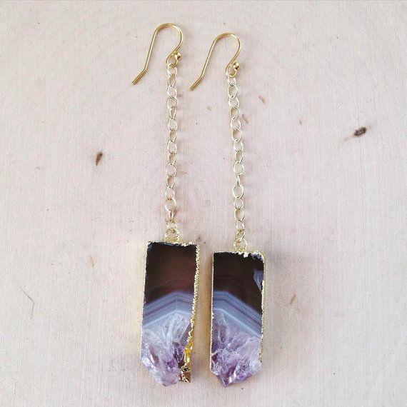 Raw Amethyst Earrings: Amethyst Slice Earrings by MalieCreations