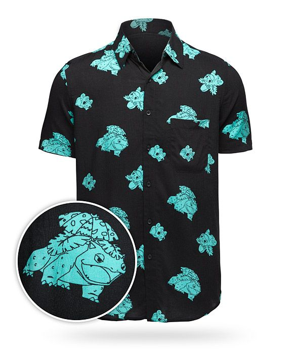 Are they plant or animal Pokémon? No one is really sure, but whatever they are, they'll be all yours when you wear this shirt! Never be caught underdressed in this button-up shirt featuring a pattern of Bulbasaur, Ivysaur, and Venusaur.