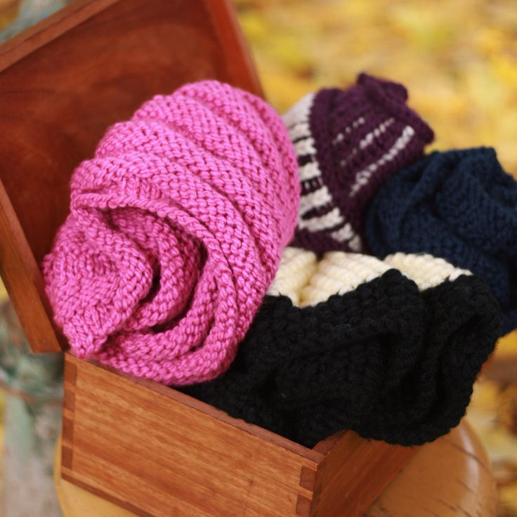 At the Wooden box and its collection of infinity scarves. Love them all!