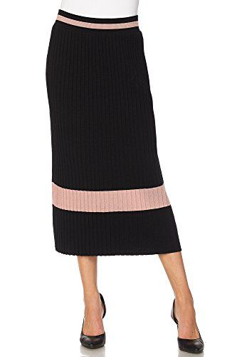17b9c17239 Lapis Pleated Maxi Sweater Knit Skirt with Stripe Trim on Waistband and  Border SXL M Black Rose *** You can find more details by visiting the image  link.