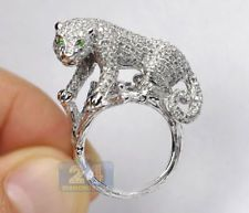Gorgeous 925 Silver Emerald Gemstone Leopard Ring Bridal Wedding Jewelry Sz 6-10