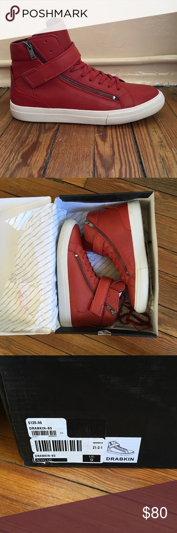 ALDO men's red high top sneaker size 9 NWT New in box. Zippers on both sides. Only worn around the house for 5 minutes. Aldo Shoes Sneakers