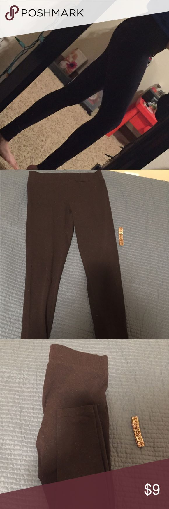 Thick Black Leggings These leggings are made out of a thicker material making them perfect for colder weather. They are also stretchy, saying that these could also pass as a small or even medium. I use small, mostly medium sized leggings and they fit me. Only worn once Matty m Pants Leggings