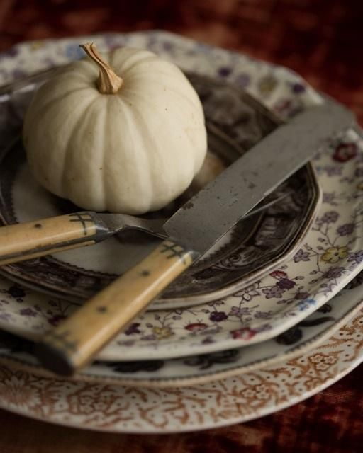 Pumpkins aren't out of style after Halloween. White pumpkins are the perfect detail for your Thanksgiving spread. Thanksgiving ideas