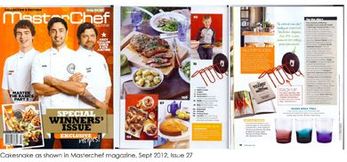 Here the Cakesnake rack was shown in the product news section of the Australian MasterChef magazine, issue 27, September 2012. We were over the moon!