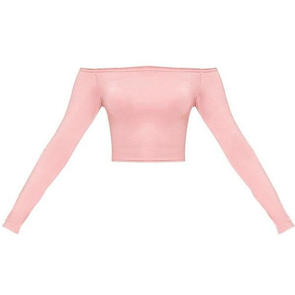 Alivia Rose Disco Slinky Bardot Longsleeve Crop Top ($15) ❤ liked on Polyvore featuring tops, disco top, holiday party tops, white party tops, rosette top and white crop tops