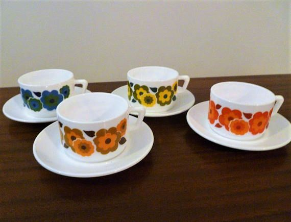 $24    Vintage 1970s Arcopal France 'Lotus' - Complete Set of Four (4) Cups and Saucers in Green, Blue, Orange and Yellow / Retro Flower Power